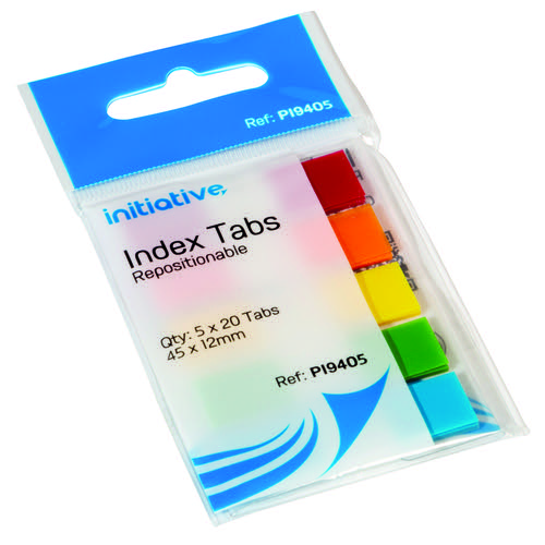 Initiative Film Index Tabs 45 x 12mm 20 Sheets of 5 Assorted Colours Pack 100