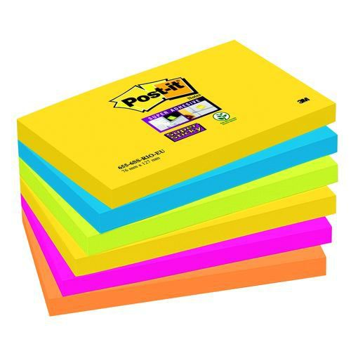 Post-it Super Sticky Notes 76x127 Rio Color Set Pack 6