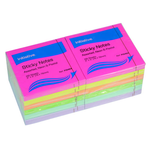 Initiative Sticky Notes Assorted Neon & Pastel 76 x 76mm 100 Sheets