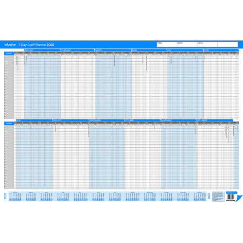 Initiative 2020 7 Day Staff Planner Umounted 915mm X 610mm