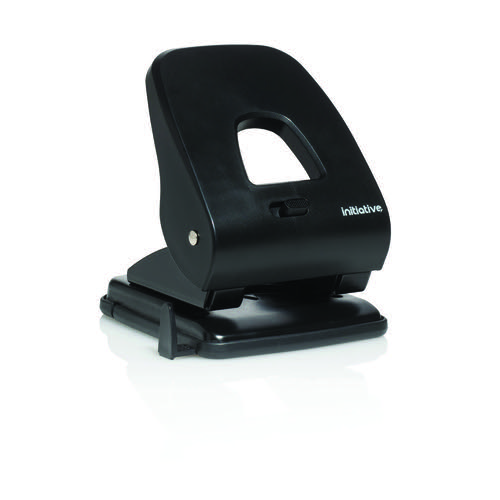 Initiative 2 Hole Punch Heavy Duty Black 40 Sheet Capacity ABS Handle