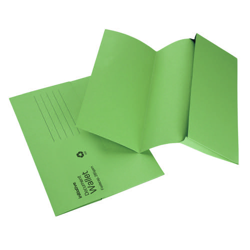 Initiative Document Wallet Foolscap Medium Weight 285gsm Green