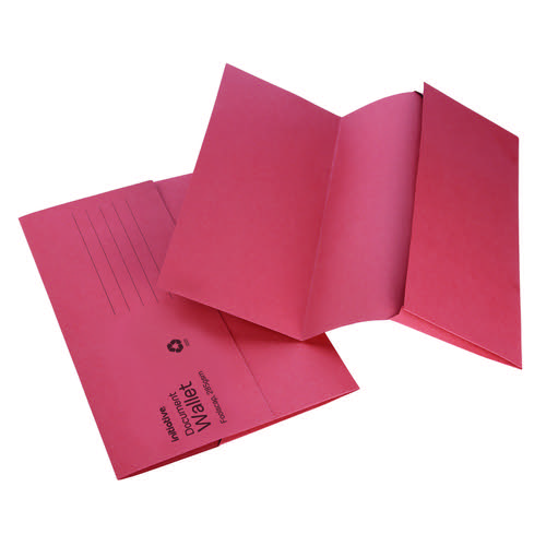 Initiative Document Wallet Foolscap Medium Weight 285gsm Red