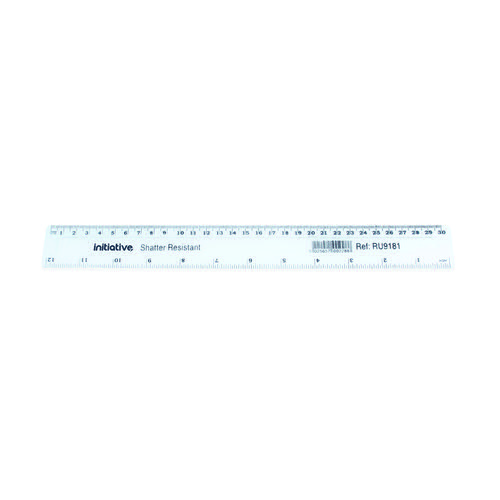 Initiative Shatter Resistant Plastic Ruler 30cm (12 inches) Clear