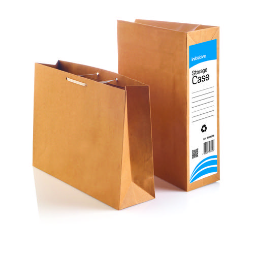 Initiative Storage Case Dust Flap and Tie Laces Foolscap 4'' 100mm Capacity Manilla 75% Recycled