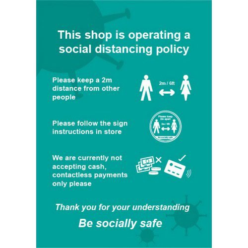 Social Distancing Rigid PVC Sign This Shop Is Operating A Social Distancing Policy C (148mm x 210m