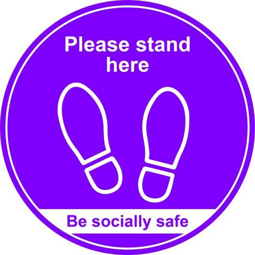 Purple Social Distancing Floor Graphic Please Stand Here (400mm dia.)