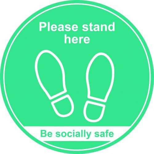 Turquoise Social Distancing Floor Graphic Please Stand Here (400mm dia.)