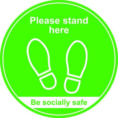 Green Social Distancing Floor Graphic Please Stand Here (400mm dia.)