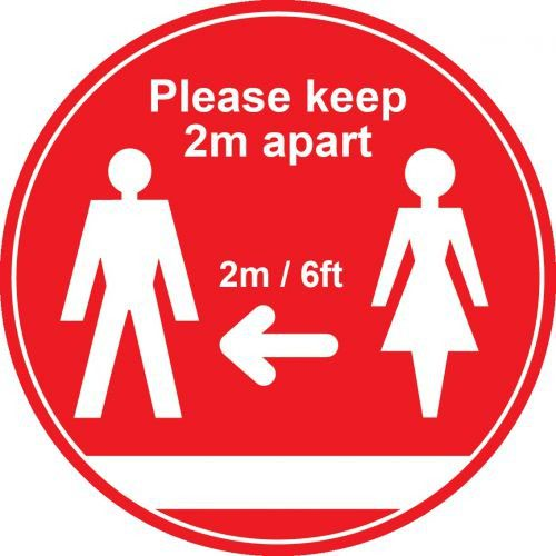 Red Social Distancing Floor Graphic Please Keep 2m/6ft Apart (400mm dia.)