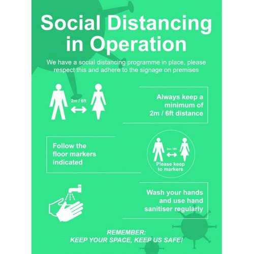 Social Distancing in Operation 3mm Foamex Sign (600 x 800mm)