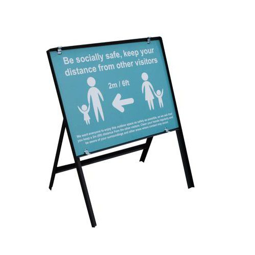 Turquoise Social Distancing Temporary Sign Be Socially Safe (600 x 450mm)