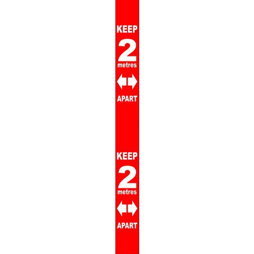 Red Social Distancing Self Adhesive Semi Rigid PVC Wall Distance Marker (800 x 75mm)