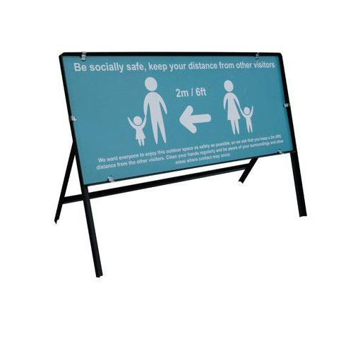 Turquoise Social Distancing Temporary Sign Be Socially Safe (1050 x 450mm)