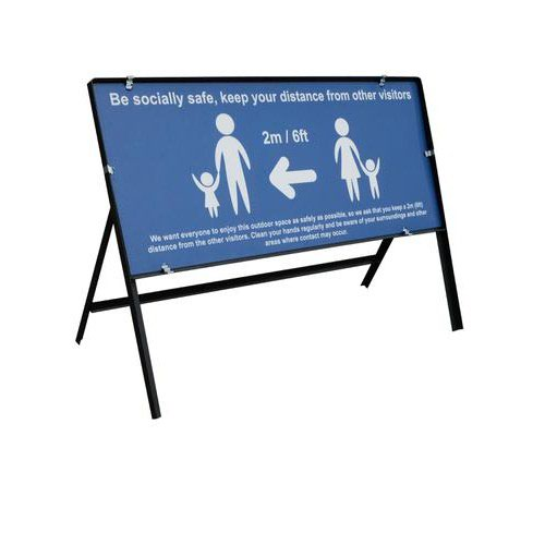 Blue Social Distancing Temporary Sign Be Socially Safe (1050 x 450mm)