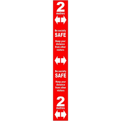 Red Social Distancing Self Adhesive Semi Floor Distance Marker (800 x 100mm)