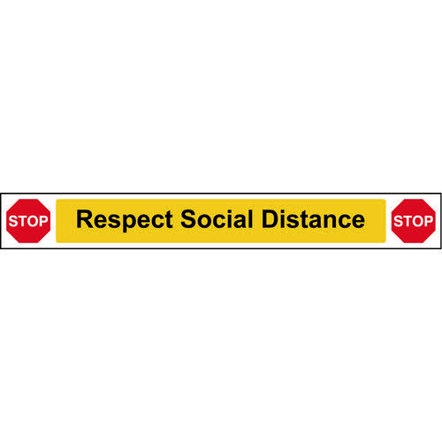 Social Distancing Wall And Floor Graphic Self Adhesive Vinyl (800 x 100mm) - STOP Respect Social Dis