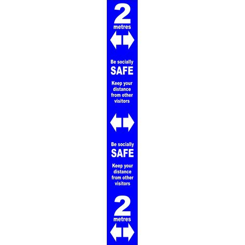 Blue Social Distancing Self Adhesive Floor Distance Marker (800 x 100mm)