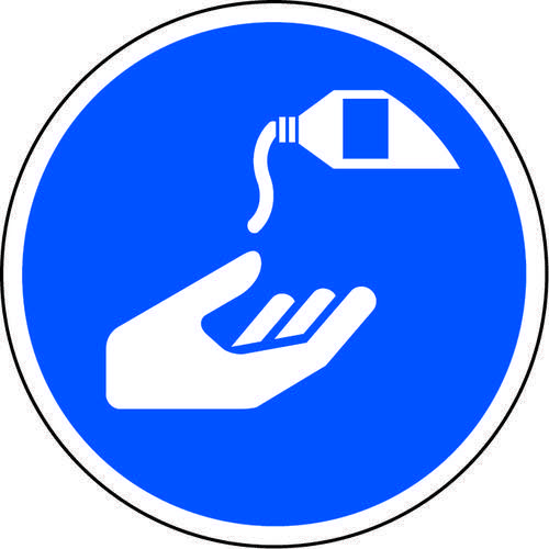 Blue Social Distancing Floor Graphic Use Hand Sanitiser (200mm dia.)