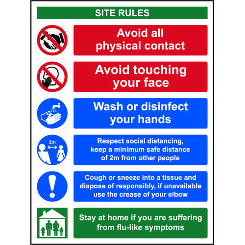 Social Distancing Rigid PVC Sign (300 x 400mm) Covid19 Social Distancing & Hygiene Safety Notice