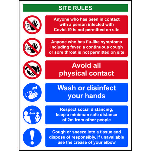 Social Distancing Rigid PVC Sign (300 x 400mm)  Covid19 Reception Safety Notice