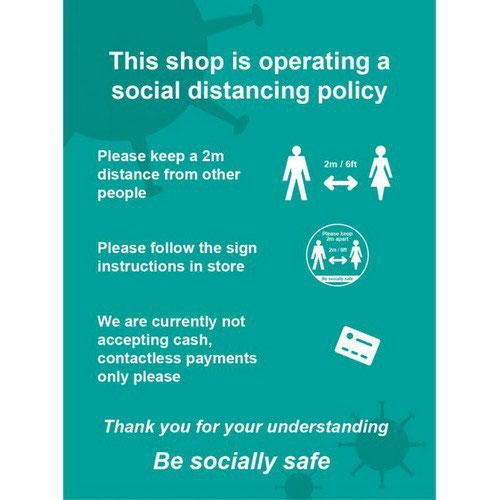 Social Distancing Window Cling Vinyl This Shop Is Operating A Social Distancing Policy A (300mm x