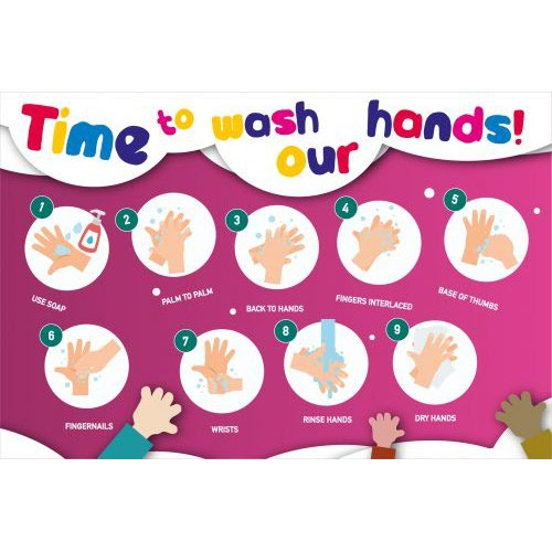 Hand Hygiene Rigid PVC Sign Time To Wash Our Hands (600mm x 400mm)