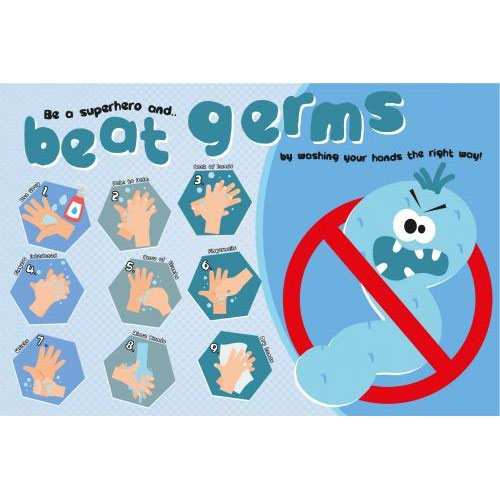 Hand Hygiene Rigid PVC Sign Be A Superhero and Beat The Germs (600mm x 400mm)