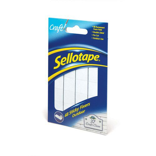 Sellotape Sticky Fixers Outdoor Pack of 48 20x20mm