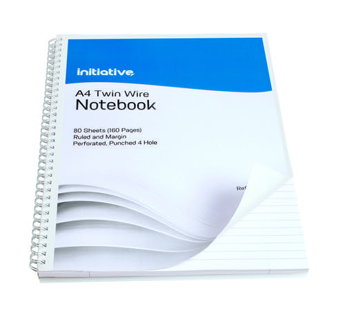 Initiative Twinwire Notebook A4+ Ruled Margin Perforated 70gsm 160 pages