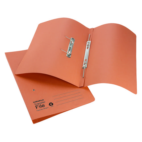 Initiative Transfer Spring File Foolscap 285gsm Orange