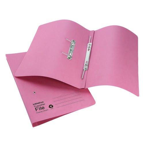 Initiative Transfer Spring File Foolscap 285gsm Pink