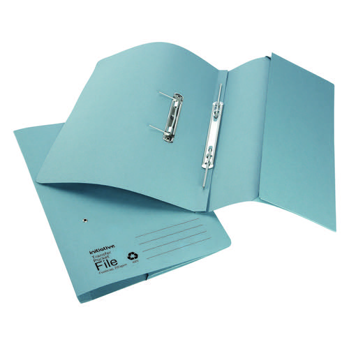 Initiative Transfer Spring File With Pocket Foolscap 285gsm Blue
