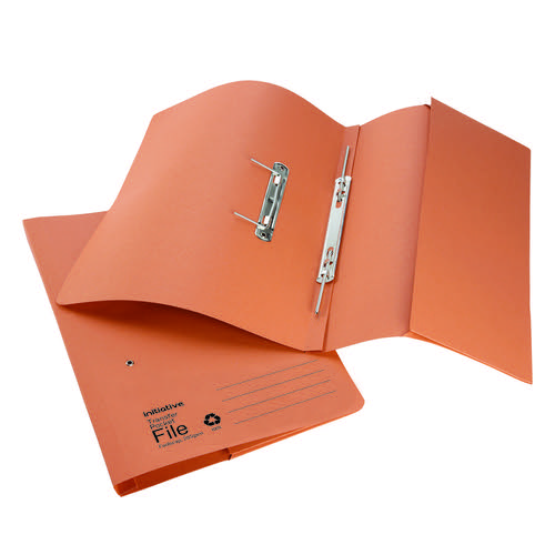 Initiative Transfer Spring File With Pocket Foolscap 285gsm Orange