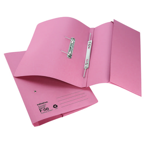 Initiative Transfer Spring File With Pocket Foolscap 285gsm Pink