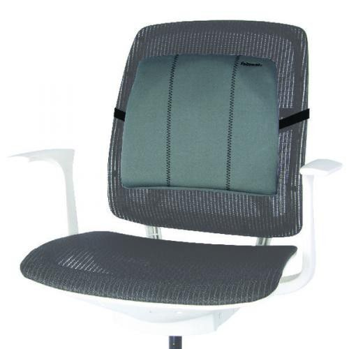 Fellowes Slimline Back Support Soft-Touch Fabric with Adjustable Strap Black
