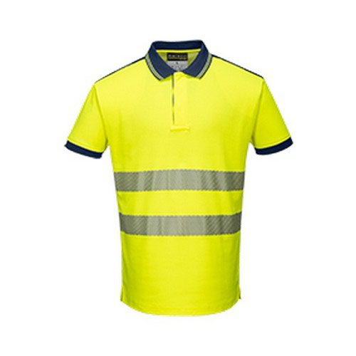 PW3 Hi-Vis Polo Shirt S/S Yellow/Navy LR