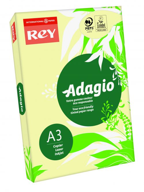 Rey Adagio Paper A3 80gsm Canary (Ream 500)
