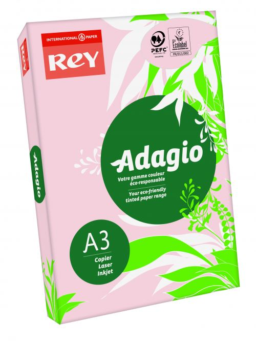 Rey Adagio Paper A3 80gsm Pink (Ream 500)