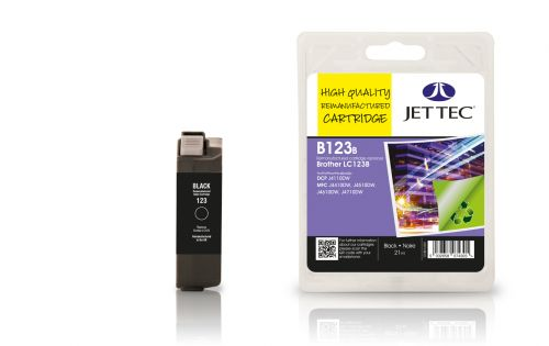 JET TEC Remanufactured Inkjet Cartridge Replaces Brother LC123 Black
