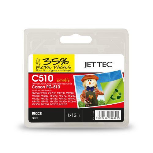 JET TEC Remanufactured Inkjet Cartridge Replaces Canon PG-510 Black Canon 2970B001