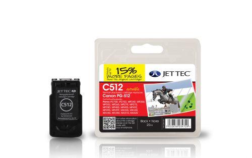 JET TEC Remanufactured Inkjet Cartridge Replaces Canon PG-512 Black Canon 2969B001AA