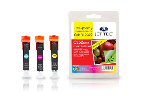 JET TEC Remanufactured Inkjet Cartridge Replaces Canon CLI-521 Cyan/Magenta/Yellow Colour Pack Canon 2934B007AA