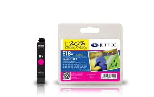 JET TEC Remanufactured Inkjet Cartridge Replaces Epson T1803 Magenta