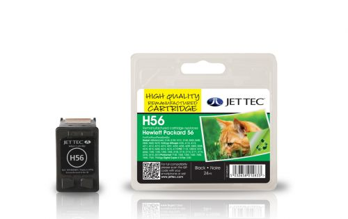 JET TEC Remanufactured Inkjet Cartridge Replaces HP 56 HP C6656AE Black