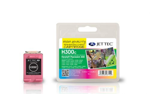 JET TEC Remanufactured Inkjet Cartridge Replaces HP 300 Cyan/Magenta/Yellow Colour Pack HP CC643EE