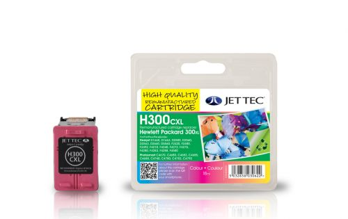 JET TEC Remanufactured Inkjet Cartridge Replaces HP 300XL High Capacity Cyan/Magenta/Yellow Colour Pack HP CC644EE