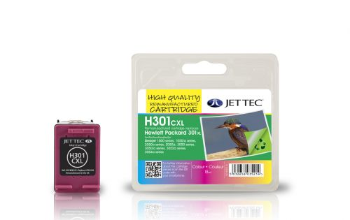 JET TEC Remanufactured Inkjet Cartridge Replaces HP 301CXL High Capacity Cyan/Magenta/Yellow Colour Pack HP CH564EE