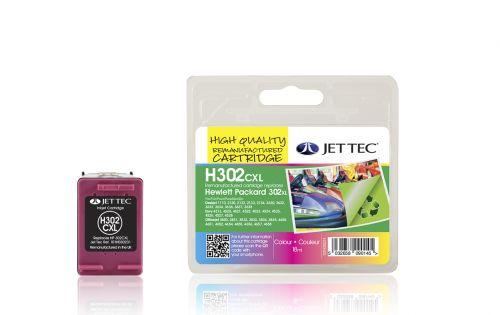 JET TEC Remanufactured Inkjet Cartridge Replaces HP 302XL HP F6U67AE Colour Pack