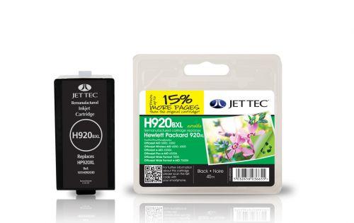 JET TEC Remanufactured Inkjet Cartridge Replaces HP 920XL HP CD975AE Black